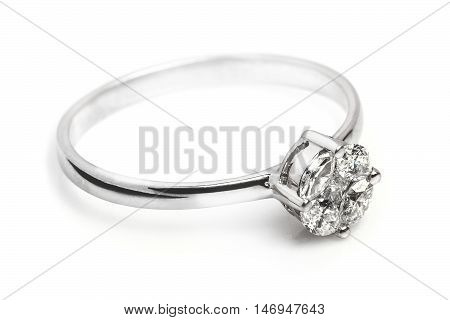 Close up of a beautiful Diamond ring having many diamonds and gem. Isolated on white background.