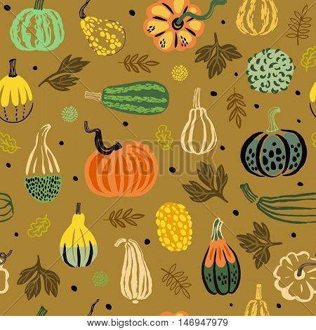 Fun vector thanksgiving pattern with vegetables