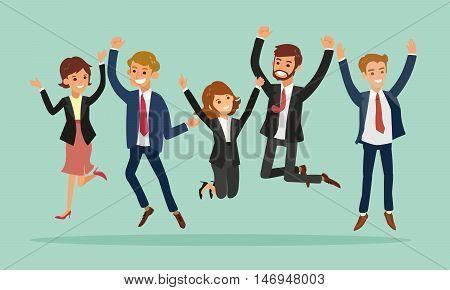 business people jumping celebrating success vector cartoon illustration