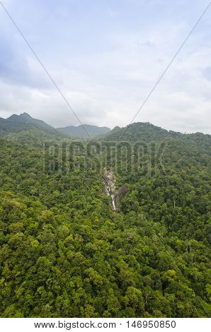 The Telaga Tujuh (Seven Wells) waterfall from Cable car at Langkawi, Malaysia