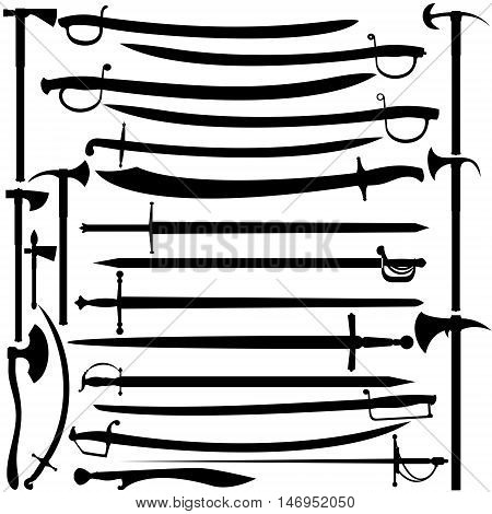 Set of piercing-cutting and slashing weapons. Illustration on white background.