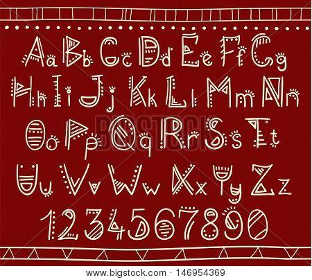 Vector alphabet in african ethnic style