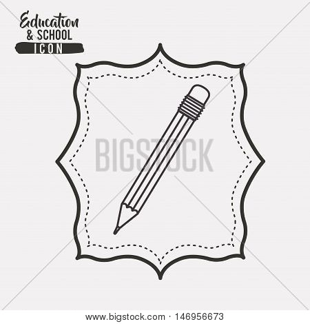 Pencil tool icon. Draw write school and instrument theme. Frame design. Vector illustration