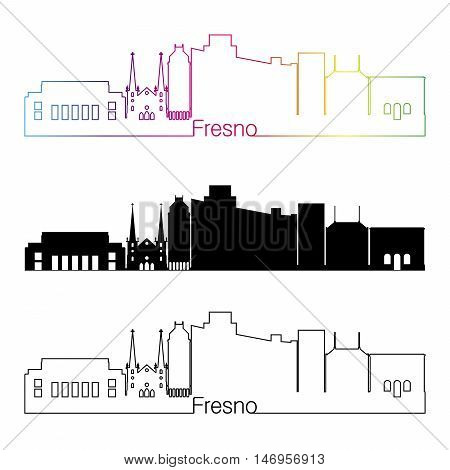 Fresno skyline linear style with rainbow in editable vector file
