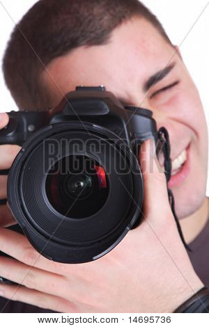 Portrait of male photographer with camera isolated on white background