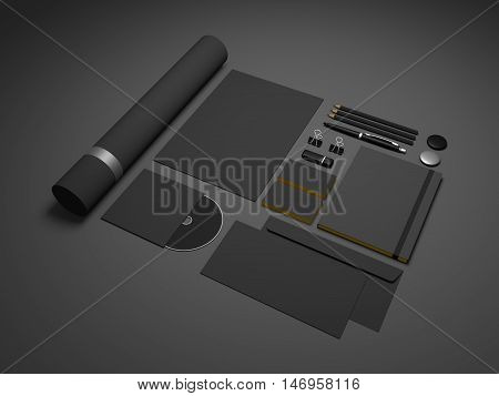 Black brand mock-up template on dark gray gradiented background. Set of branding stationery mockup with a notepad A4 letterhead envelopes and cd.