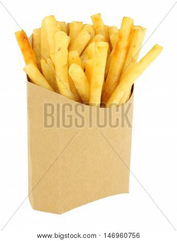 French fries in a cardboard scoop isolated on a white background