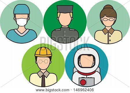 Architect, Astronaut, Athlete, Bodyguard, Butler, Chef, vector, avatar, people, head, user, face, symbol, human, portrait, icon, person, sign, social, female, profile, male, illustration, flat, character, design, haircut, beard, hairstyle, creative, casua