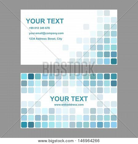 Cyan abstract business card template background design from rounded squares