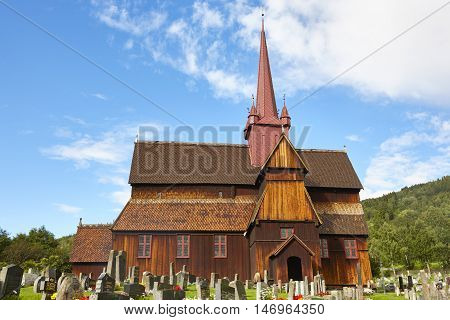Traditional medieval norwegian stave church. Ringebu stavkyrkje. Travel Norway. Horizontal
