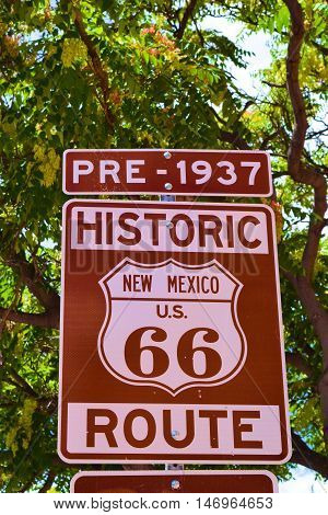 Historic Route 66 Sign which was a transcontinental highway before Interstates taken in New Mexico