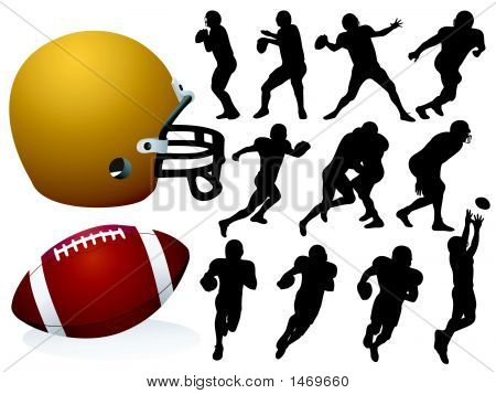 Football Players Silhouettes - Vector / Eps8 poster