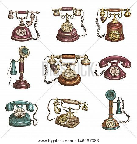 Old vintage retro phones with receivers, dials, wires. Sketch icons