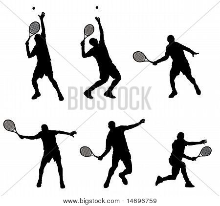 Abstract vector illustration of tennis player silhouette poster