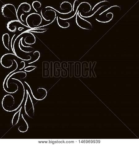 white abstract floral corner on a black background,  in the style of line of chalk on a blackboard. Hand drawn vector stock illustration