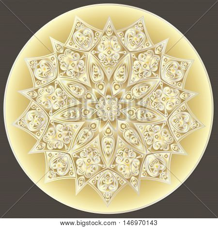 Drawing of a floral mandala with  gradient in gold and silver colors on a brown background. Hand drawn tribal  vector stock illustration