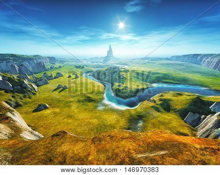 3d rendering of a colorful fantasy landscape