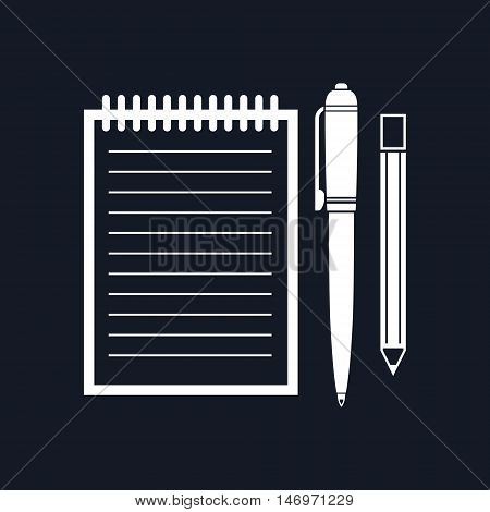 Notebook with a Pen and Pencil, Jotter Isolated on Black Background, Office Equipment, Vector Illustration