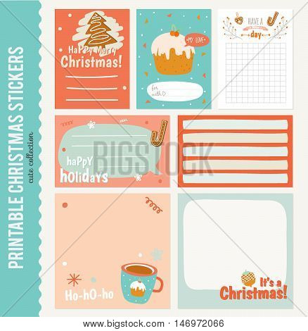 Collection of Cute Vector Journaling Cards, Notes, Stickers, Labels, Tags with Winter Christmas Illustrations and Wishes. Template for New 2016 Year Greeting Scrapbooking, Congratulations, Invitations