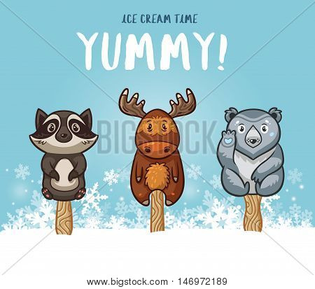 Set of ice cream on a stick with cartoon animals on blue background. Cute animal popsicles collection with racoon, moose, polar bear in the snow. Yummy