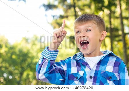 Little boy with admiration raised index finger up. Idea. Admiration and happiness of the child