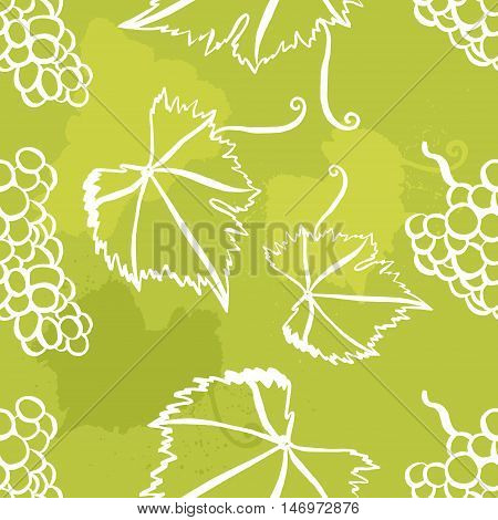 Vector seamless background pattern with freehand drawings of vine leaves, tendrils, and bunches of grapes
