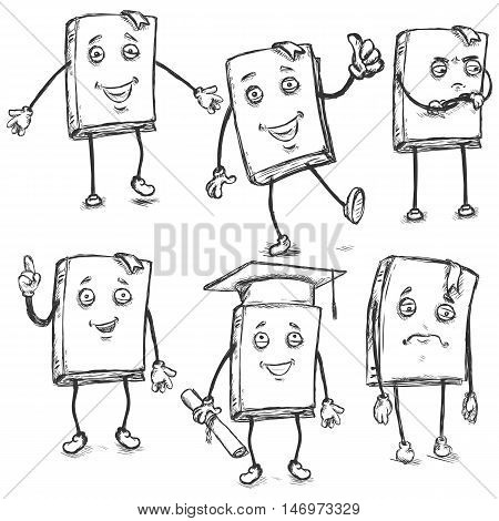 Vector Set Of Sketch Characters - Lively Books.