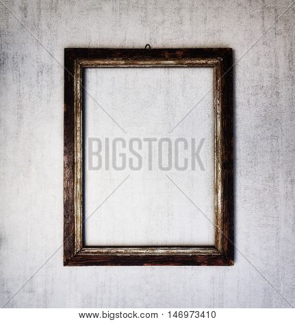 old wooden frame on a gray grunge background. tinted image