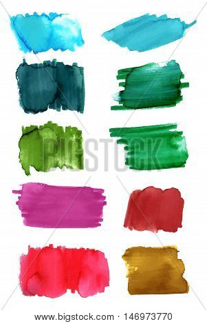 A set of watercolor or water soluble marker brush strokes in teal, green, red, purple, and golden. Abstract vector background textures, on white
