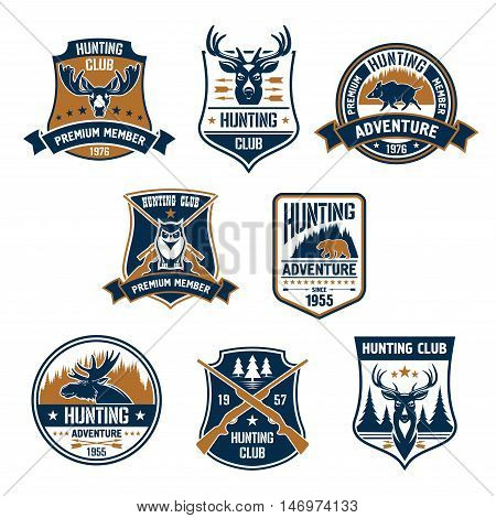 Hunting club icons set. Vector hunt sports emblems and labels with animals, boar, deer, elk, bear, antlers, owl, rifles, arrows, forest. Hunter premium membership identity badge, t-shirt outfit