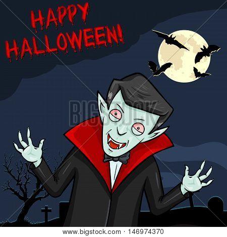 Vector Halloween Postcard. Vampire with Text - Happy Halloween.