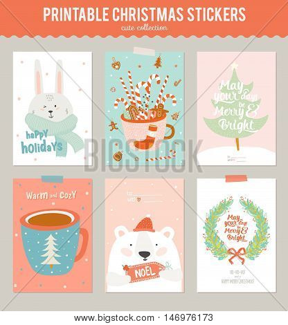 Collection of 6 Christmas gift tags and cards templates. Christmas beautiful cheerful posters set. Lovely winter invitations with cartoon and character style illustration.