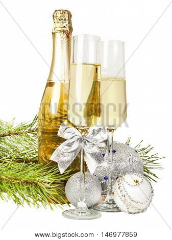 Champagne with two glasses and new year composition 2017 isolated on white