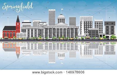 Springfield Skyline with Gray Buildings, Blue Sky and Reflections. Vector Illustration. Business Travel and Tourism Concept. Image for Presentation Banner Placard and Web Site.