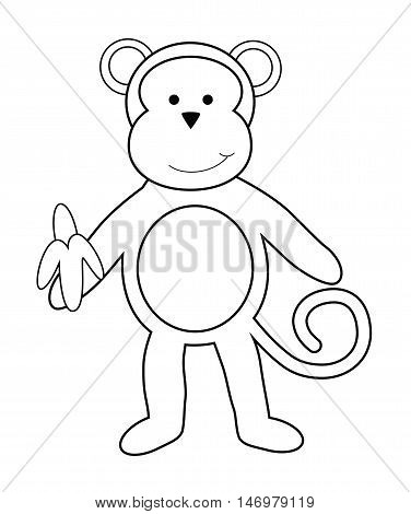 Isolated Monkey with Banana Black and White Coloring Page