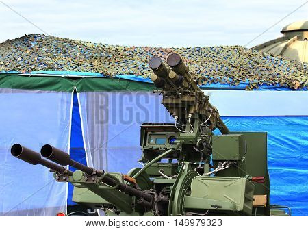Upgraded twin anti-aircraft automatic gun Zu-23 / 30M1-3 equipped with a module for the installation and start-up of two anti-aircraft missiles