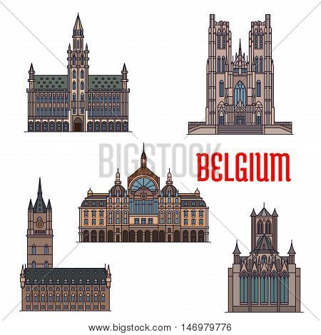 Famous historic buildings of Belgium. Vector detailed icons of Belfry of Ghent, St Bavo Cathedral, St Michael Catherdral, Antwerp Central Station. Belgian architecture symbols for print, souvenirs, postcards