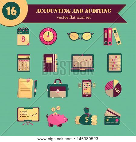 Bookkeeping vector flat icons. Finance, accounting and auditing, economic, business symbols. Business illustration