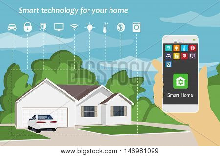 Smart Home. The concept of smart technology for your home . Vector