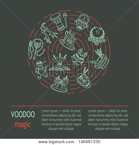 Modern card with voodoo magic vector line icons. Voodoo doll, skull, chicken foot, necklace, poison, candles, drums, book a machete.