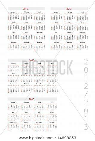 Template Foe Calendar 2012-2013
