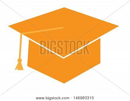 Isolated Orange Graduation Cap Hat and Tassle
