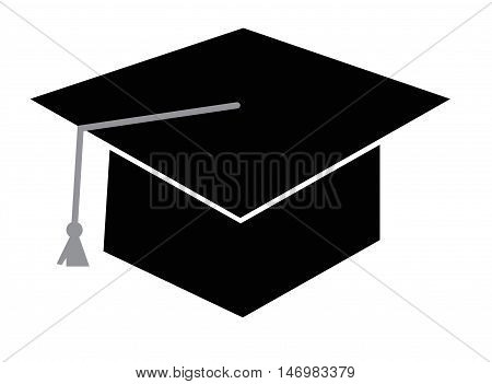 Isolated Black Graduation Cap Hat and Tassle