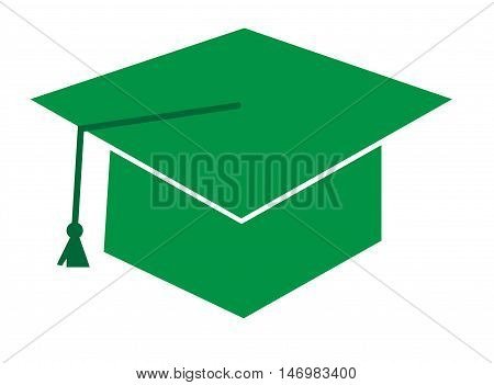 Isolated Green Graduation Cap Hat and Tassle