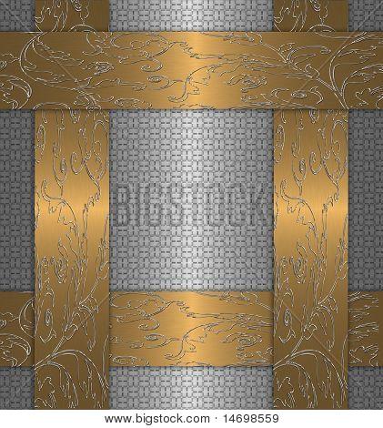 Gold mit Platin abstrakt blumen vintage
