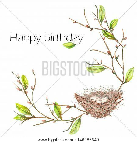Template postcard of the watercolor bird nest  with eggs on the apple tree branches, hand drawn isolated on a white background, background for your card and work, greeting card or invitation