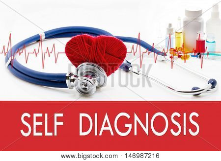 Medical concept self diagnosis. Stethoscope and red heart on a white background