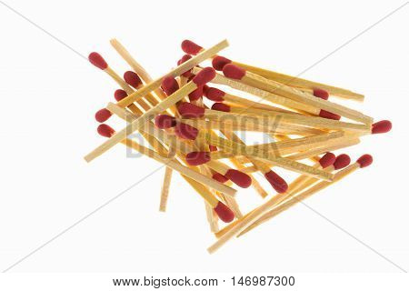 Group of matchsticks isolated on a white background.