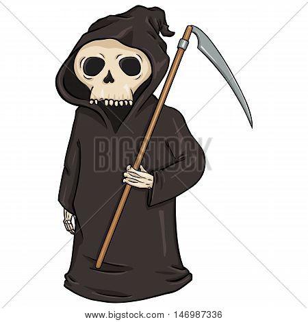 Vector Cartoon Halloween Character - Death With Scythe.