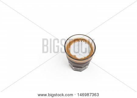 Macchiato espresso coffee on isolated white background